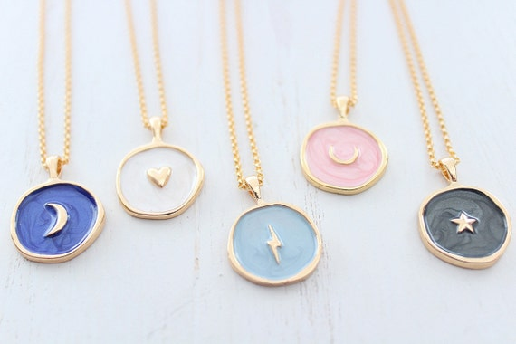 Heart necklace in gold, horseshoe necklace and moon necklace or lighting bolt necklace star necklace