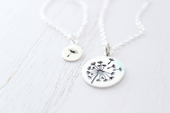 Dandelion necklace in silver, mother daughter necklace set of 2 • sterling silver necklace • mothers day gift from Daughter • mom necklace