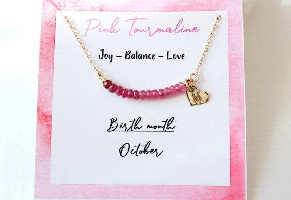 Personalized Tourmaline necklace, Custom initial necklace gold, October birthstone necklace for women, Tourmaline Jewelry
