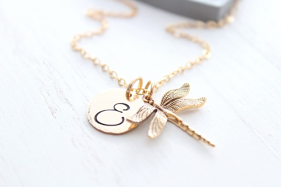 Gold Dragonfly necklace, Cursive letter charm necklace, large initial letter charm necklace, dragonfly gift, gold dragonfly charm