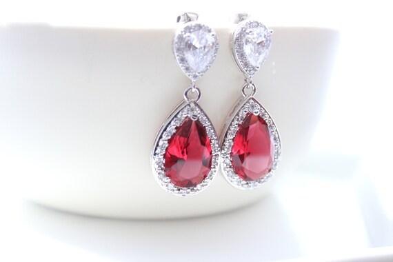 Red Bridal Earrings Ruby Teardrop Bride Necklace Wedding Jewelry Siam Wedding Earring Dark Red Bridesmaid Gift Red Bridal Necklace