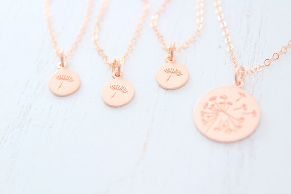 Dandelion Necklace Mother Daughter in rose gold • Gifts for Mom • Mother Daughter Gift • Mom Gift • Mothers Day Gift