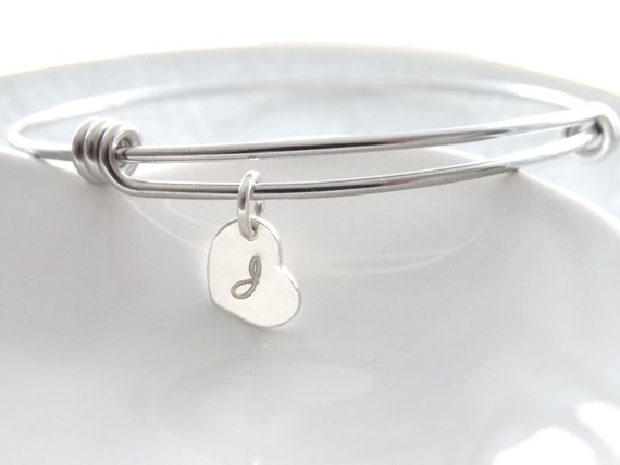 Personalized Initial Bracelet, initial bracelet charm, Bangle Bracelet Silver, Bangle charm, Bracelet, Mother's day from daughter