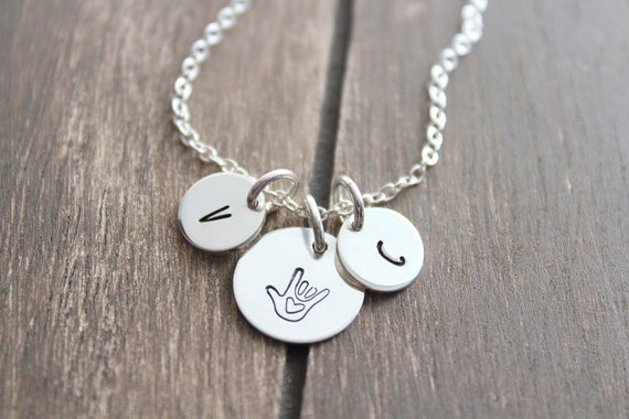 ASL, I Love You Sign Language Necklace, Gift for Best Friend, Sterling Silver, Rose Gold Necklace, Gift for her, ASL Sign Language