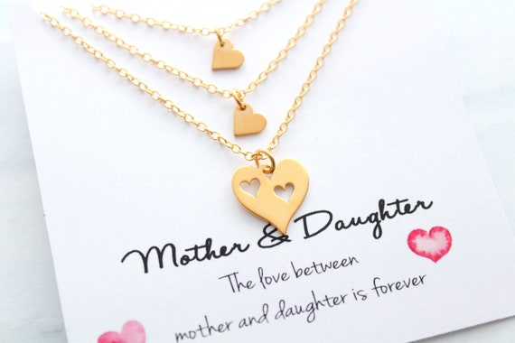 Mother daughter Necklace, mother daughter jewelry, Heart necklace, mother of two daughters, Mother's day gift, Mother of the Bride gift