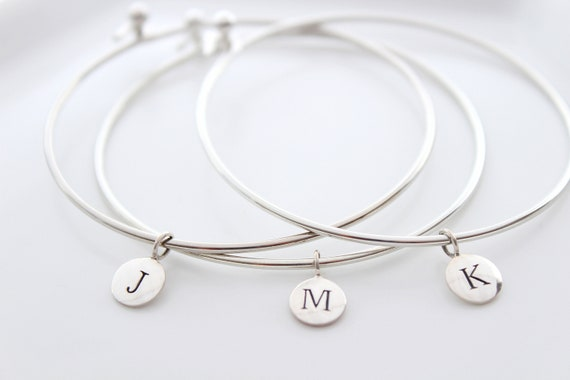 Initial Bangle Bracelet Silver Personalized Gift for Her Personalized Bridesmaid Gift Bridal Gifts Personalized Bracelet Gift