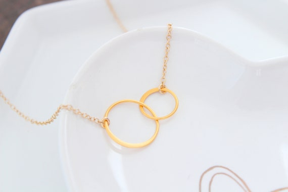 Circle Necklace Gold, Eternity Necklace, Best friend gift, 2 Circles Necklace, Two Circle Necklaces