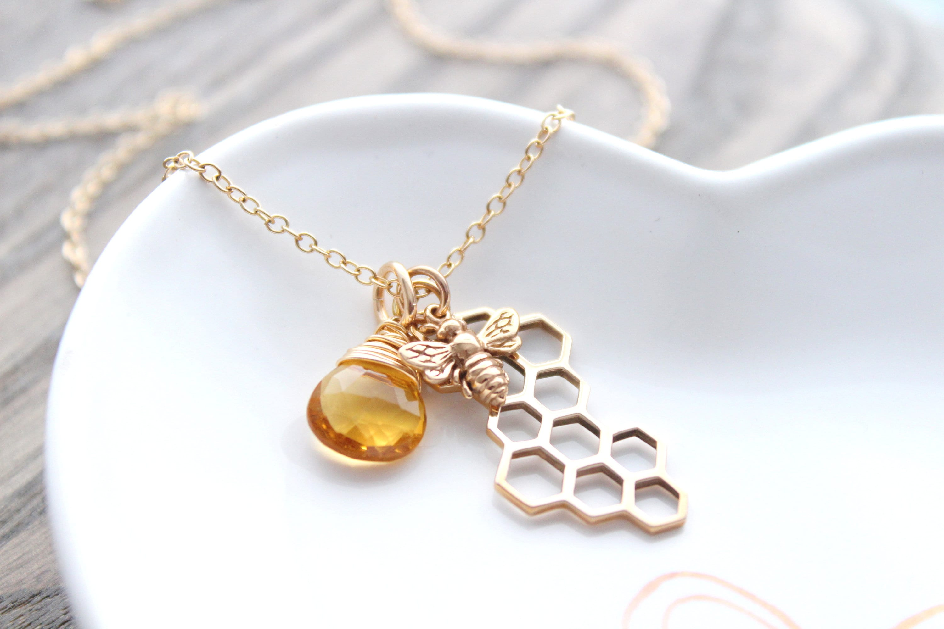 Gold Filled Bee Charm Necklace Curb Chain Necklace Dainty Necklace Special Gift For Her
