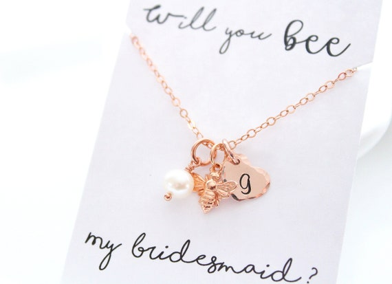 Rose gold Bee Necklace Set of 3, 4, 5, 6 for Bridesmaids Gift • Initial Necklace jewelry • Bee necklace • Honey Bee necklace • bee jewelry