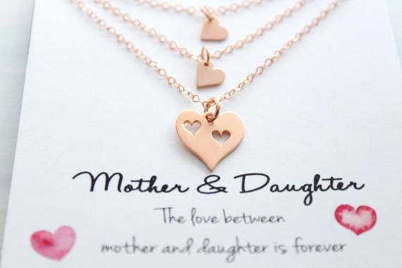 Mother Daughter Necklace Set Gift For Mom Mother Daughter Jewelry rose gold  Heart mecklace Mom Necklace  Heart Charm Set of 3