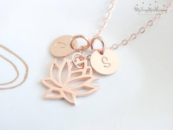 ROSE GOLD Lotus Necklace Rose Gold Lotus Flower Charm Necklace  Lotus Pendant Necklace Yoga Necklace Yoga Jewelry  Rose Gold Necklace