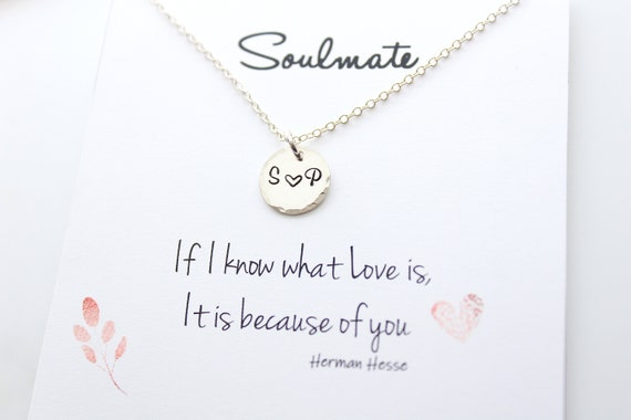 Initial necklace Couple Necklace Initial Heart Soulmate gift for girlfriend Personalized Necklace Heart Necklace Gift for her Birthday Gift