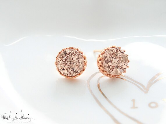 Druzy Stud Earrings ROSE GOLD Stud Earrings Drusy Studs Rose gold Druzy earrings Studs Pink Druzy Earrings Tiny Druzy Earrings