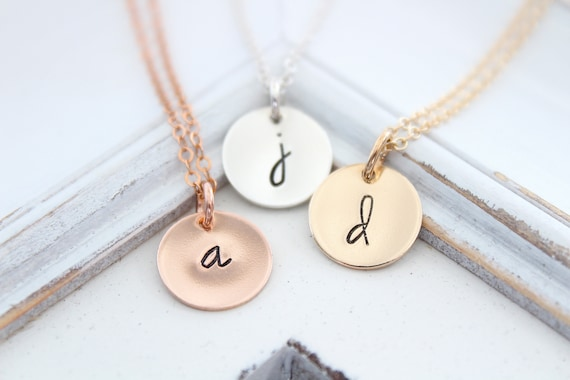 Personalized Initial Necklace, Letter Initial necklace, monogram necklace, Custom necklace, Disc pendant, Silver, Rose gold,Gift for mom