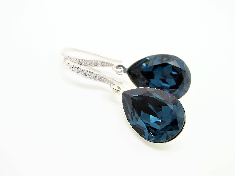 b63ca7bfca26d Blue Bridal Earrings Navy Blue Earrings Wedding Jewelry Swarovski ...