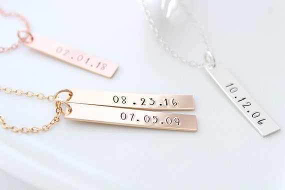 Date Necklace gold, Anniversary Necklace, Custom Date Necklace, Personalized Date Bar Necklace