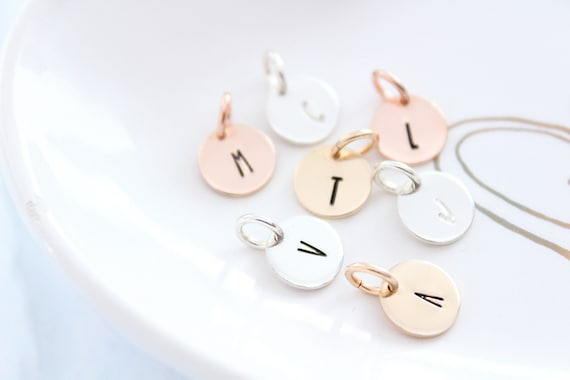 Initial Charm gold, Initial charm, initial disc, Initial charm, sterling silver Initial charm, rose gold Letter charms GGB