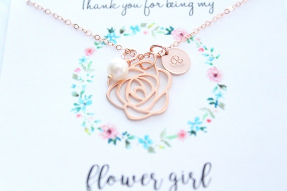 Flower Girl gift, Flower girl necklace rose gold, initial necklace, freshwater pearl necklace, Bridesmaid Gift, Personalized Jewelry