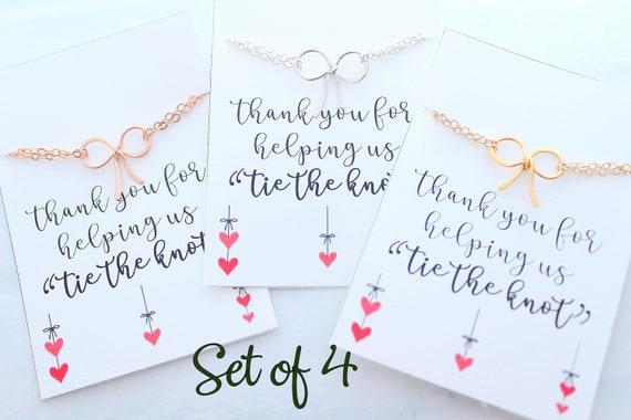 Set of 4 Bow bracelets set Bridesmaid gift Tie the Knot bracelets for bridesmaids Bracelet bridal party jewelry Silver Bow Bracelet