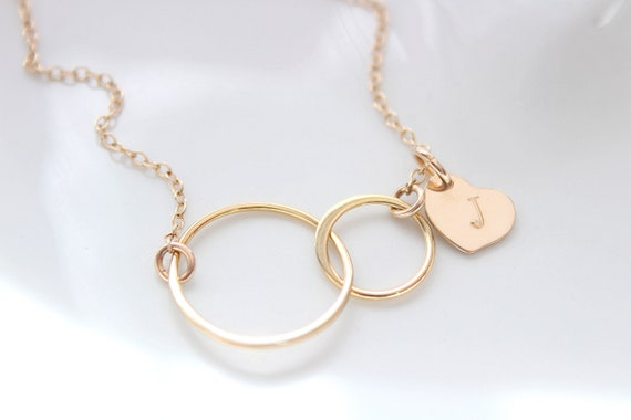Infinity Necklace, Interlocking Circle Necklace, Mother and Child Necklace, Mother Daughter Necklace, Double Circle Necklace, Christmas