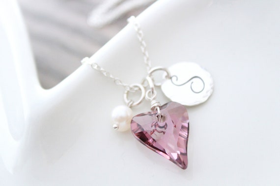 Crystal Necklace Valentine heart necklace Sterling silver Necklace Personalized Heart necklace Charm Necklace Pink Crystal Necklace