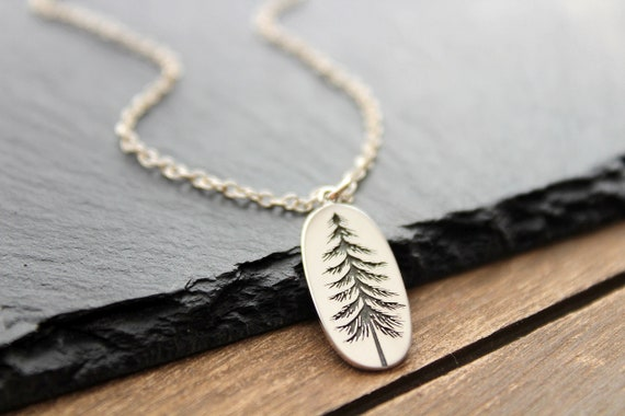Silver Tree Necklace, Pine tree necklace, Tree Pendant Sterling Silver, Pine Necklace, Winter Tree Necklace, Evergreen Necklace