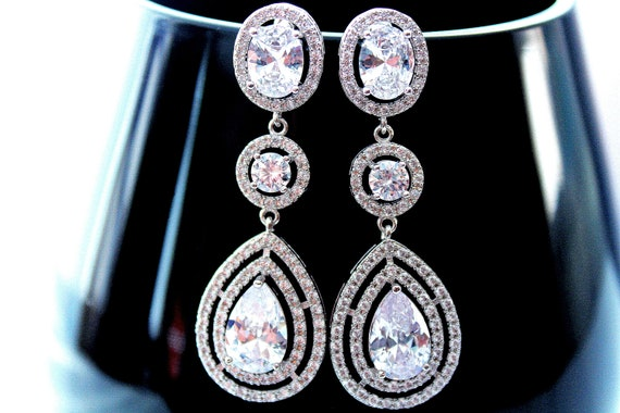 Crystal Bridal Earrings Crystal Wedding earrings  Crystal earrings Wedding Jewelry Bridal Jewelry Cubic Zirconia earrings Bride earrings