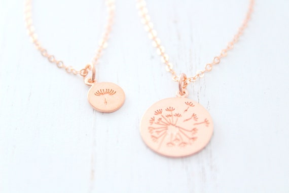 Dandelion Necklace in rose gold • Mother Daughter Necklace •  Mothers day gift • Daughter Gift • Mommy and Me Dandelion Jewelry Set of 2