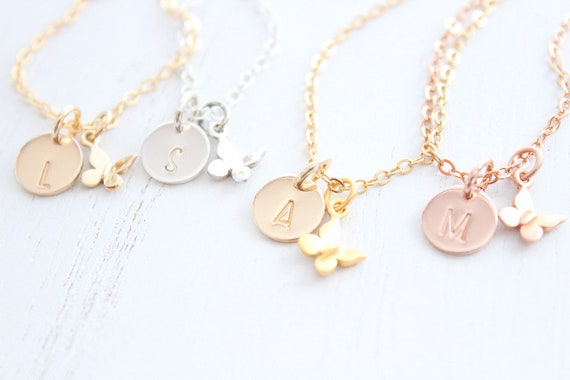 Butterfly necklace gold for young girls in silver or rose gold. Butterfly Pendant Necklace, Birthday Gift, Bridesmaid gift
