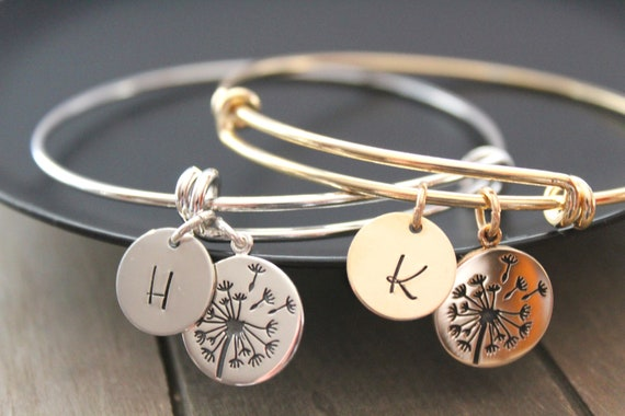 Dandelion Bracelet, Mother of the Bride Gift from bride, sterling silver dandelion, initial charm letter, Gold bangle bracelet