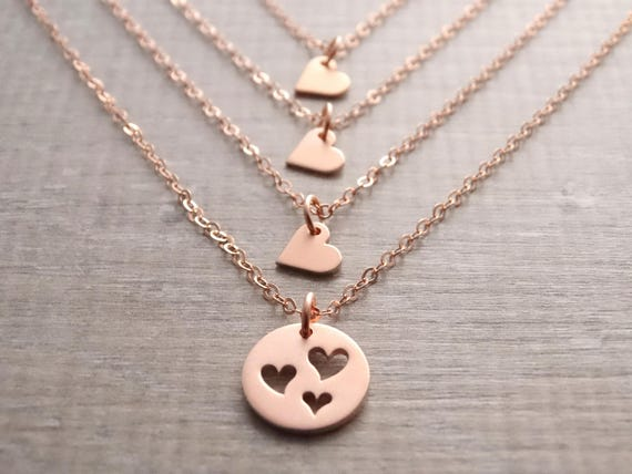 Mother daughter necklace rose gold, mom birthday gift, mother daughter jewelry, Mother of 3 daughters, gift for mom, mother's day gift