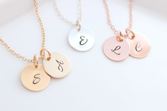 Initial Necklace Gold Rose Gold Initial Necklace Sterling Silver Initial Personalized Initial Disc Necklace Custom Gold Engraved Necklace