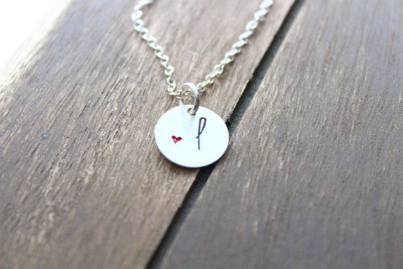 Personalized Initial necklace, Brushed Initial Discs, monogram necklace, Small heart necklace, Gift for heart, Sterling silver, Rose Gold
