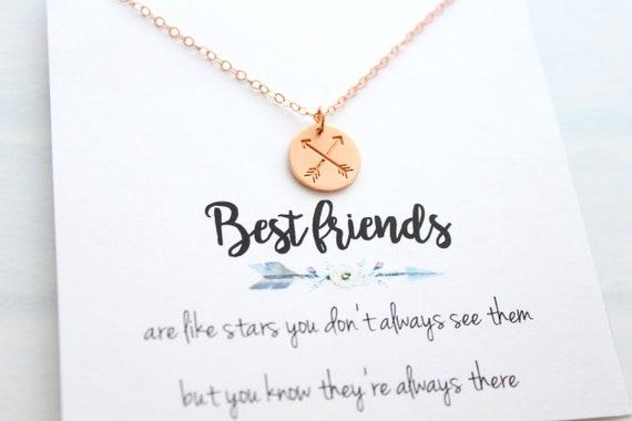 Rose Gold Cross Arrows Necklace Best Friend Gift Crossed Arrow Necklace BFF Gift Friendship Jewelry Best Friend Jewelry Gift for Bestie