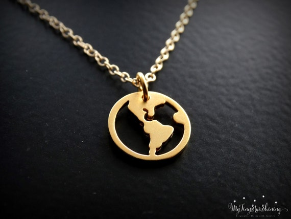 World Map Necklace Gold, Travel Necklace Gold, Globe Pendant, Traveler, Jewelry, World Charm, Gold Necklace