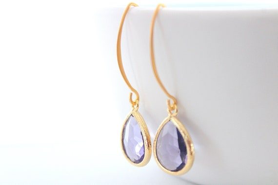 Purple earrings in Gold for Bridesmaid Gift, Amethyst earrings, Dangle Earrings, Bridesmaid Earrings, Bridesmaid gift