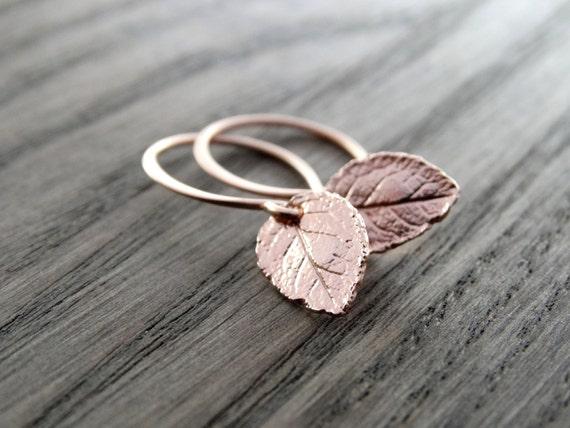 Rose Gold leaf Earrings, Nature earrings, Tiny rose Gold Leaves Earrings, Rose Gold Earrings, tiny leaf earrings, Leaf Earrings