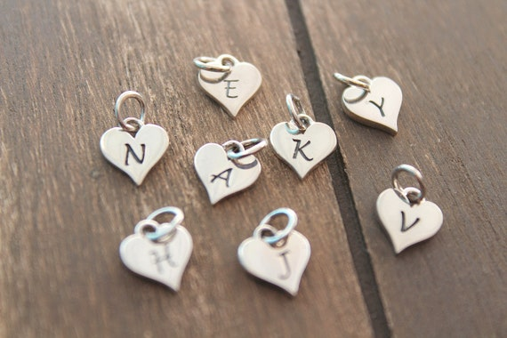 Initial Charm Silver, Initial Pendant, hand stamped initial charm, Personalized Jewelry, Initial Letter, Monogram Initial charm, heart charm