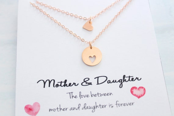 Mother daughter Necklace Set Mothers day gifts Rose gold heart charm Mother gift Mother daughter rose gold jewelry mom birthday gift
