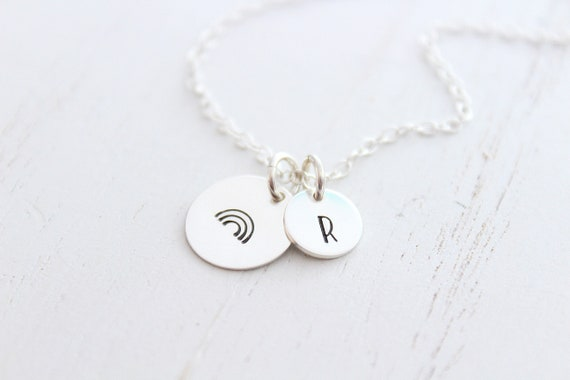 Rainbow Necklace in sterling silver. Rainbow baby necklace with Initial charms