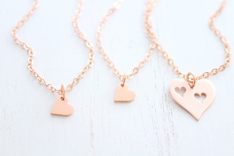 Mother Daughter Necklace heart Set of 3 in Rose gold image 0