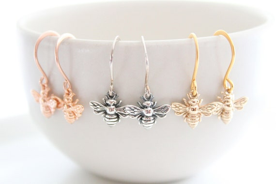 Rose Gold Bee Earrings Sterling silver Bee Earrings Bee Jewelry Honeycomb earrings Bee earrings dangle Honey bee earrings Bumble bee Earring