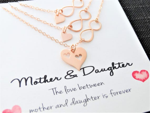 Mother daughter Jewelry Mother daughter Necklace Set of 3 Infinity Heart necklace mother daughter gifts for mom from daughter Heart Necklace