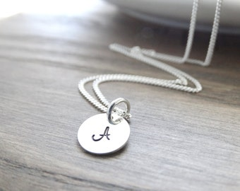 Initial Necklace, Sterling Silver monogram necklace, silver initial necklace, Silver Letter Necklace, Alphabet Charm Necklace, Christmas