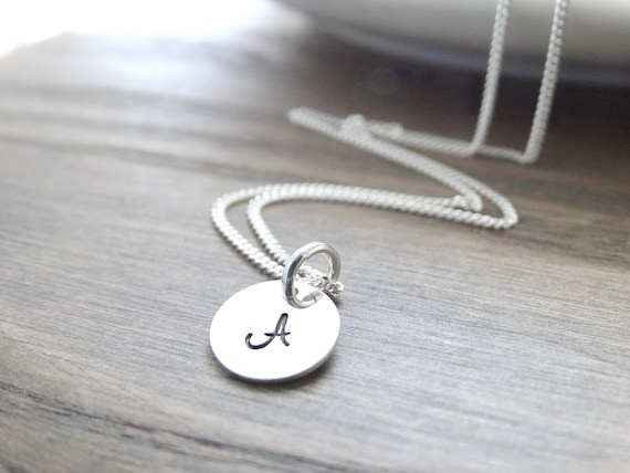 Initial Necklace, Sterling Silver monogram necklace, silver initial necklace, Silver Letter Necklace, Alphabet, Charm Necklace