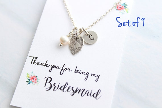 Personalized Jewelry leaf necklace Silver Initial Necklace Fall Wedding Jewelry Bridesmaid Necklace Bridesmaid Gift Rustic wedding Set of 9
