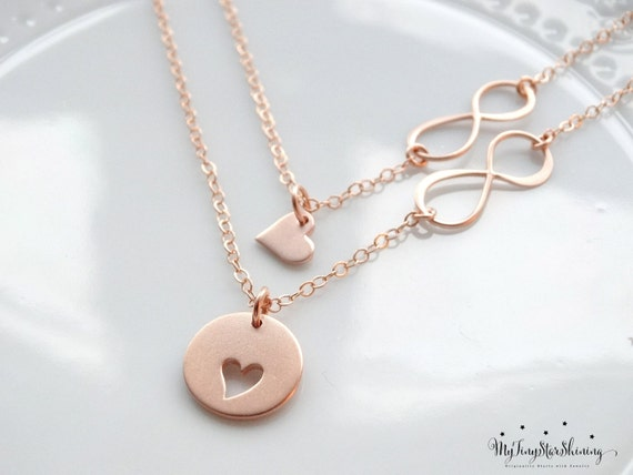 Mother daughter Necklace Set Rose Gold Necklace Infinity heart necklace mother daughter jewelry Mother of the Bride Gift Set of 2