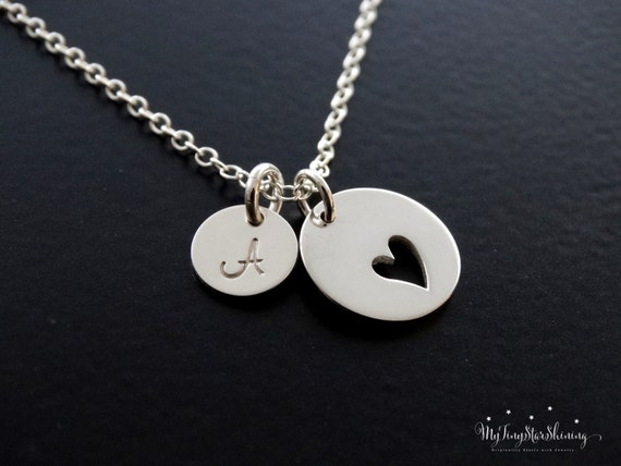 Heart Necklace Heart Pendant Love Necklace Heart Necklace Silver Personalized Jewelry,Initial Necklace,Mother's Necklace