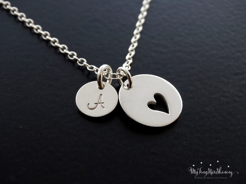 Heart Necklace silver Heart Pendant Love Necklace image 0