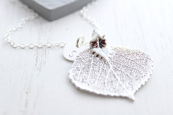 Leaf necklace in silver leaf with initial necklace, real aspen leaf jewelry, bridesmaid gifts, wedding Jewelry, Christmas gift